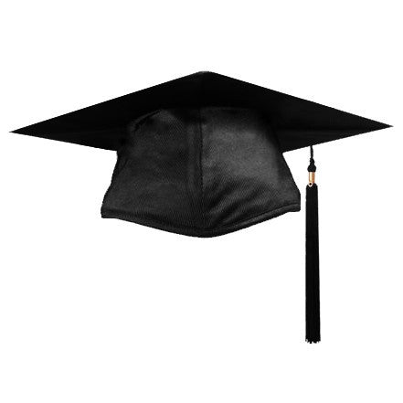 Shiny Black Graduation Cap and Tassel