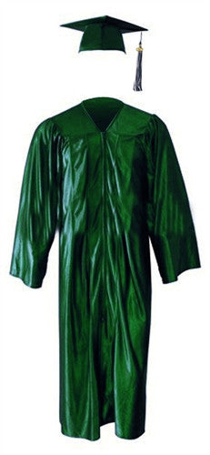Shiny Green Cap, Gown & Tassel
