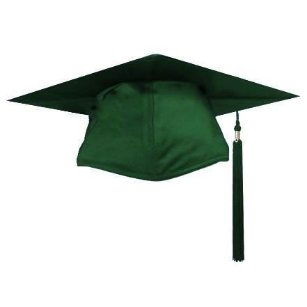 Shiny Green Graduation Cap and Tassel