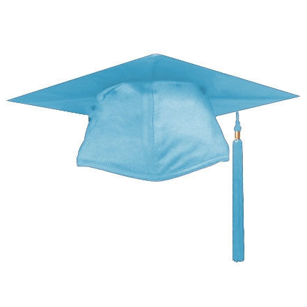 Shiny Light Blue Graduation Cap and Tassel