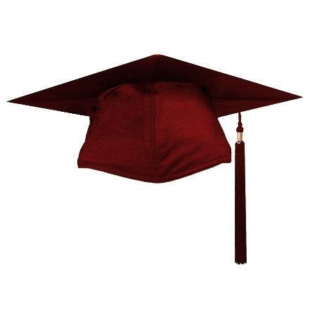Shiny Maroon Graduation Cap and Tassel