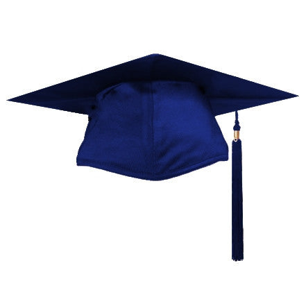 Shiny Navy Graduation Cap and Tassel