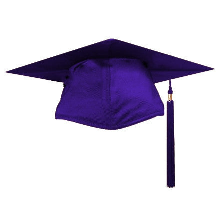 Shiny Purple Graduation Cap and Tassel