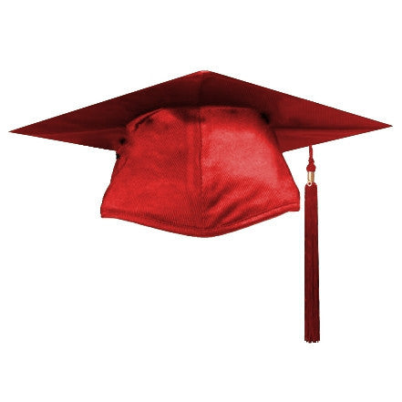 Shiny Red Graduation Cap and Tassel