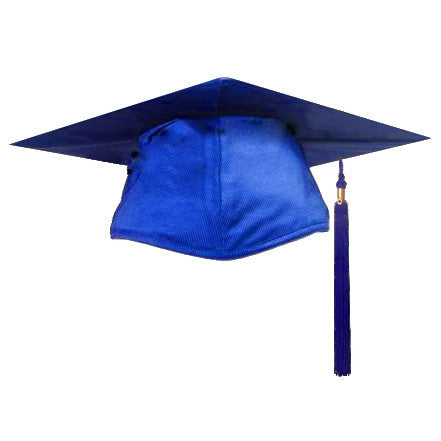 shiny royal graduation cap and tassel cap and gown direct