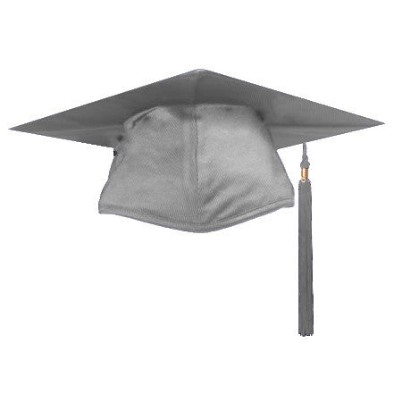 Shiny Silver Graduation Cap and Tassel