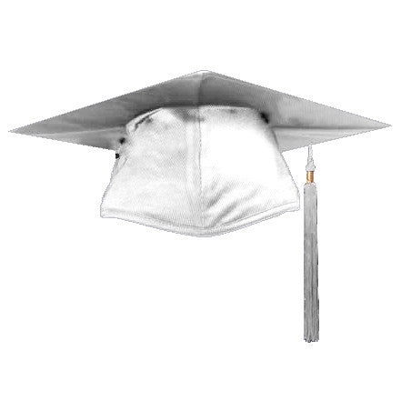 Shiny White Graduation Cap and Tassel