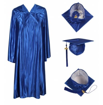 Shiny Royal Cap, Gown & Tassel
