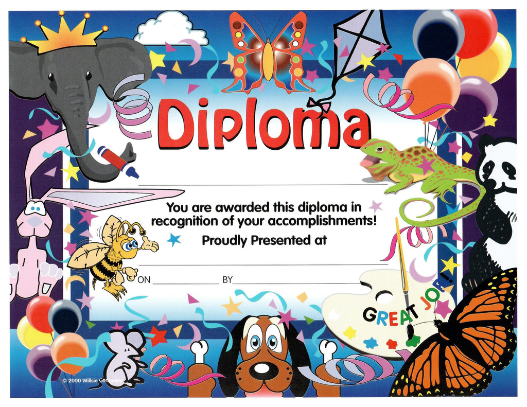 "Kindergarten Diploma Insert 11""*8.5"" - Happy Zoo"
