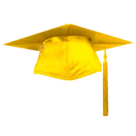 Shiny Gold Graduation Cap and Tassel