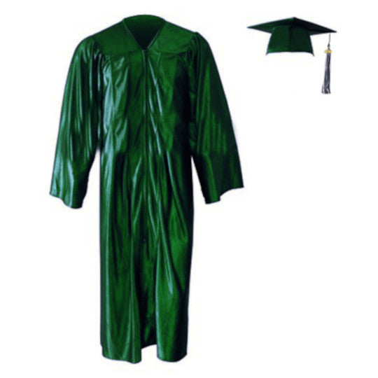 Shiny Kinder Hunter Green Cap, Gown & Tassel
