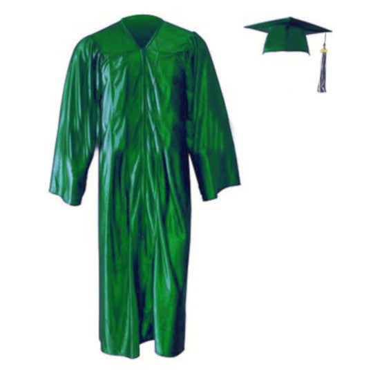 Shiny Kelly Green Cap, Gown & Tassel