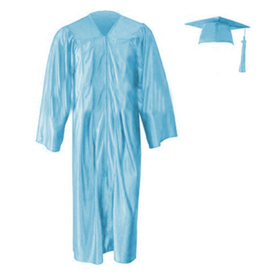 Shiny Light Blue Cap, Gown & Tassel