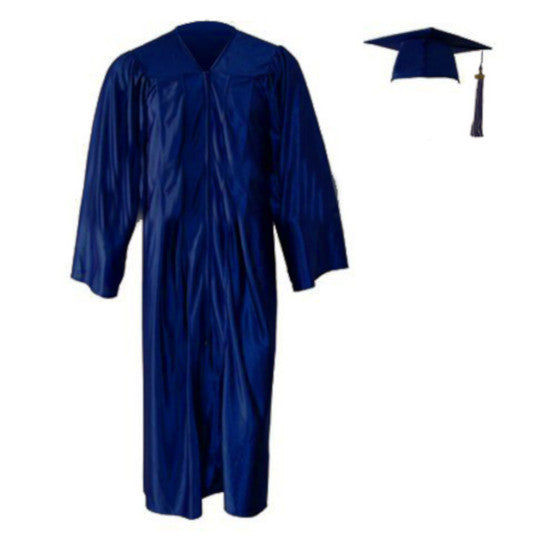 Shiny Navy Cap, Gown & Tassel