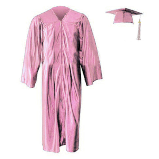 Shiny Pink Cap, Gown & Tassel
