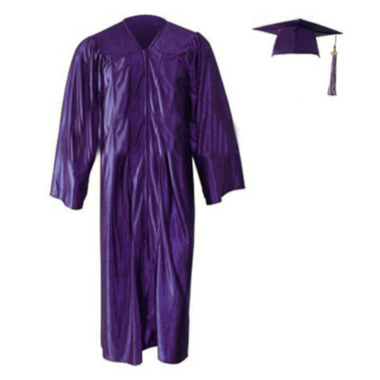 Shiny Purple Cap, Gown & Tassel
