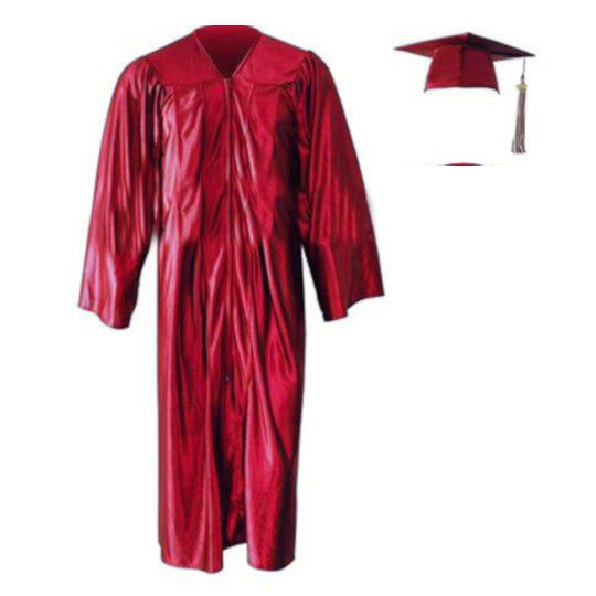 Shiny Red Cap, Gown & Tassel