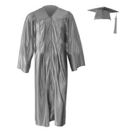 Shiny Kinder Silver Cap, Gown & Tassel