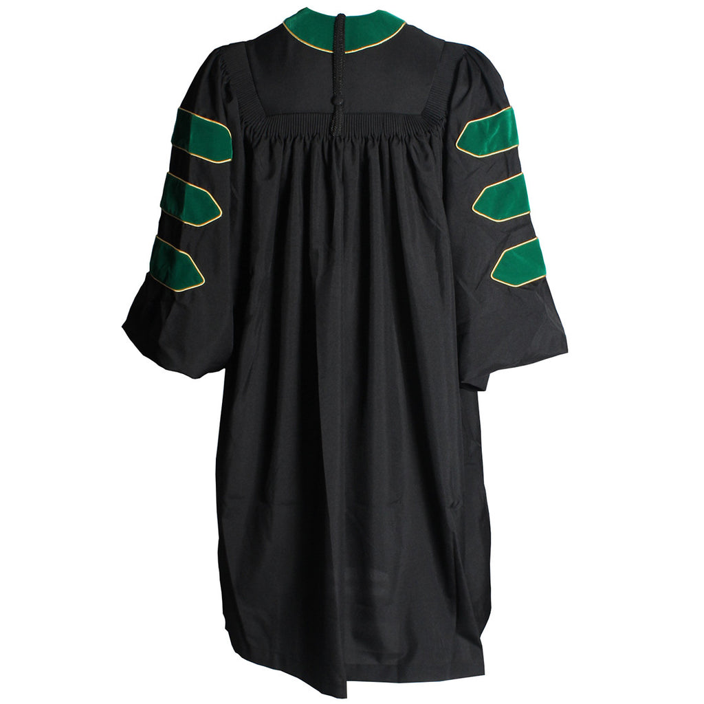 Deluxe Emerald/Hunter Green Doctoral Gown with Gold Piping