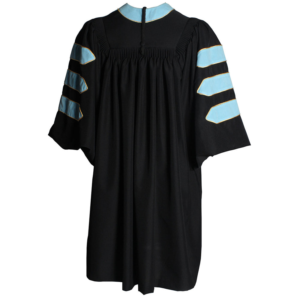 Deluxe Light Blue Doctoral Gown with Gold Piping