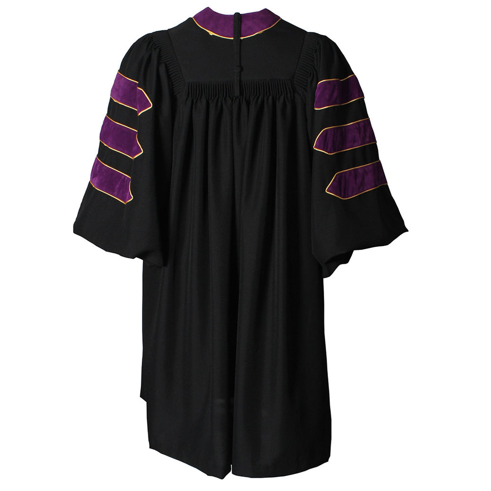Deluxe Purple Doctoral Gown with Gold Piping