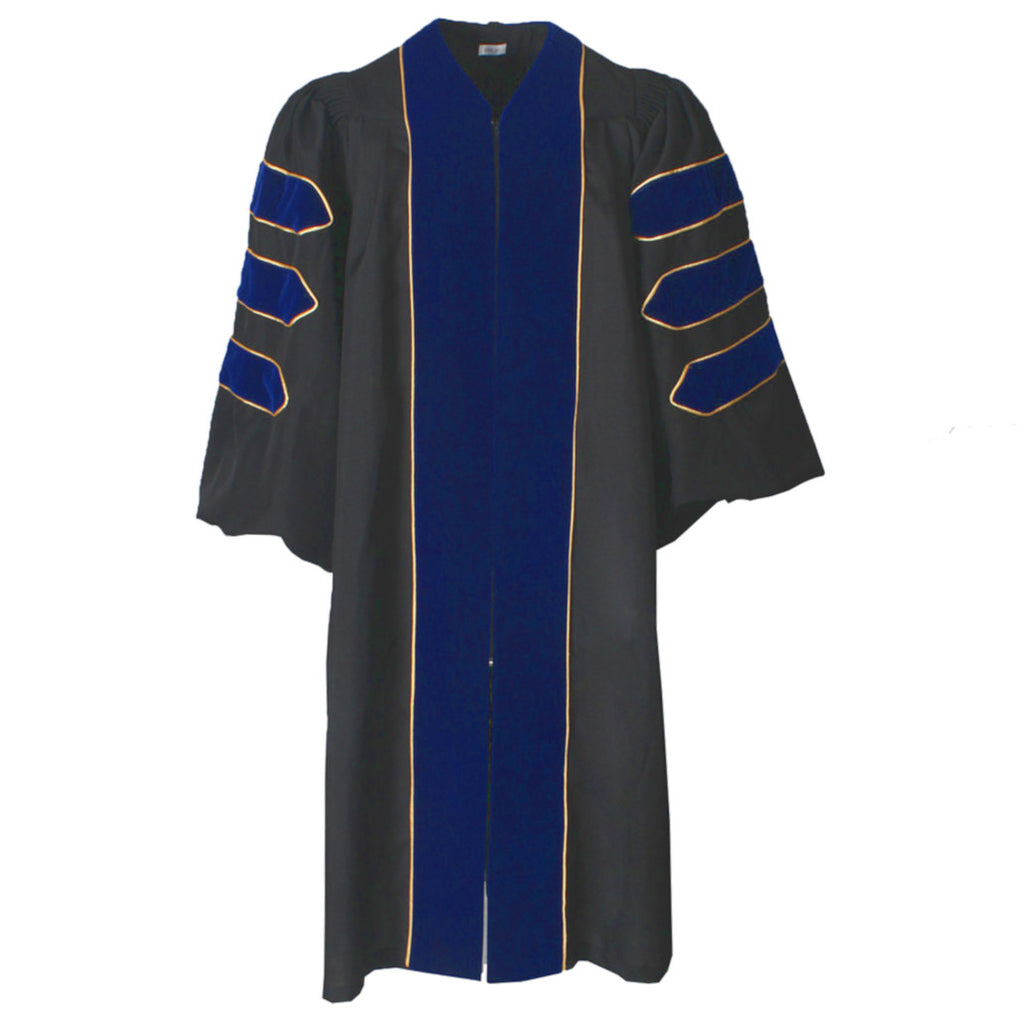 Deluxe Royal Blue Doctoral Gown with Gold Piping