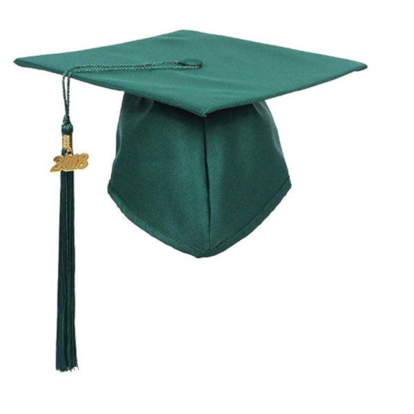 Matte Hunter Green Graduation Cap and Tassel