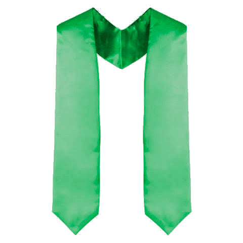 Green Graduation Stole - Kelly Green
