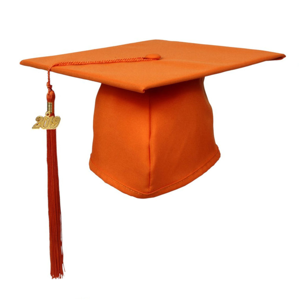 Matte Orange Graduation Cap and Tassel