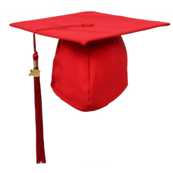 Matte Red Graduation Cap and Tassel