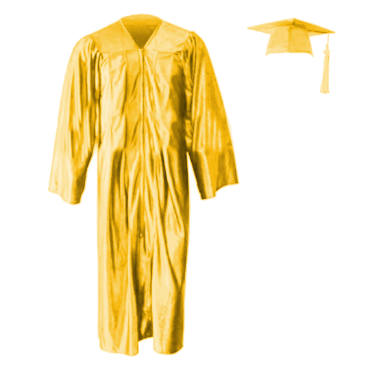 Shiny Gold Cap, Gown & Tassel