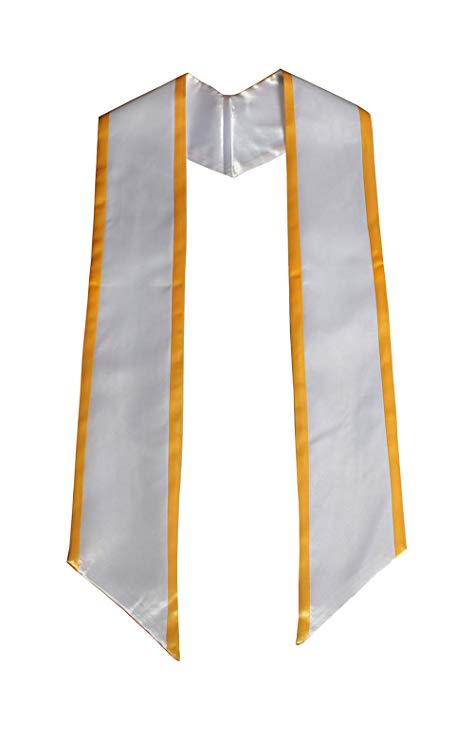 Deluxe White Stole with Gold Trim 72""