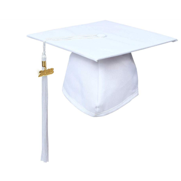 Matte White Graduation Cap and Tassel