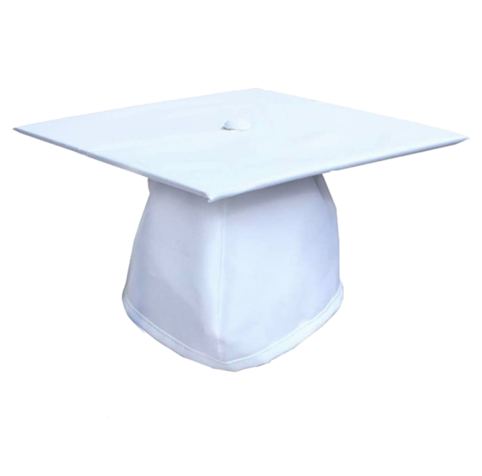 Matte White Graduation Cap - No Tassel