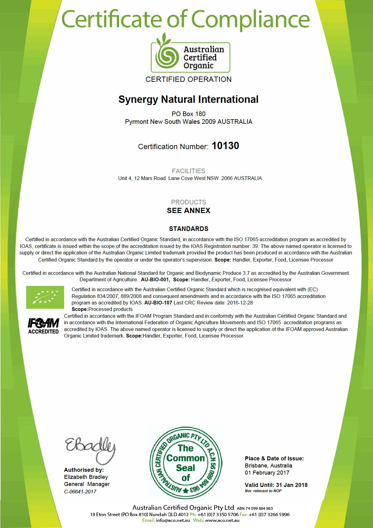 our organic certification synergy natural