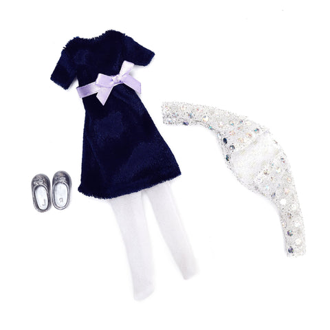 Blue Velvet dress outfit set: Lottie Dolls clothes and outfits