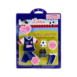 Front Girls United football soccer Lottie Doll Clothes and Outfits box