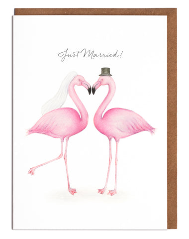 Flamingos Just Married Card