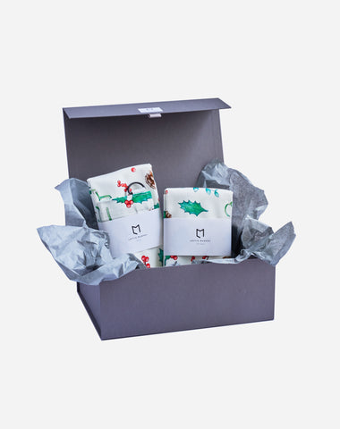 Christmas Foliage Tea Towel & Apron Gift Box