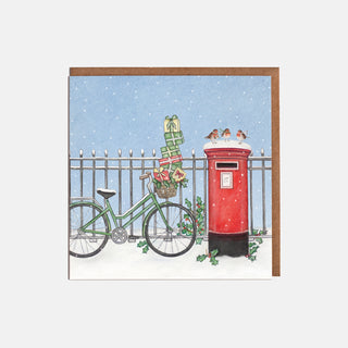 Postbox & Bicycle Christmas Cards (8 per pack)