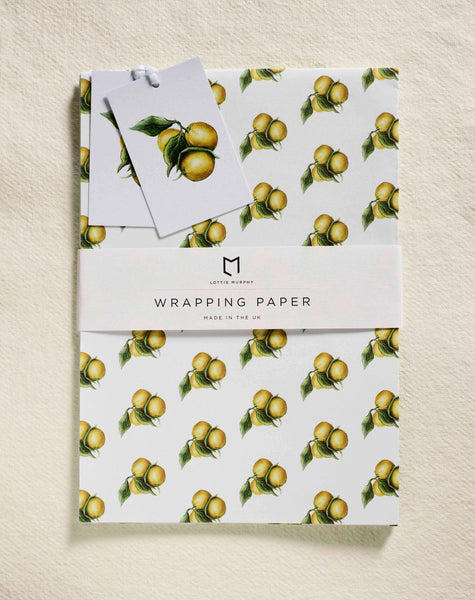 Lemons Wrapping Paper (2 Sheets & Tags)