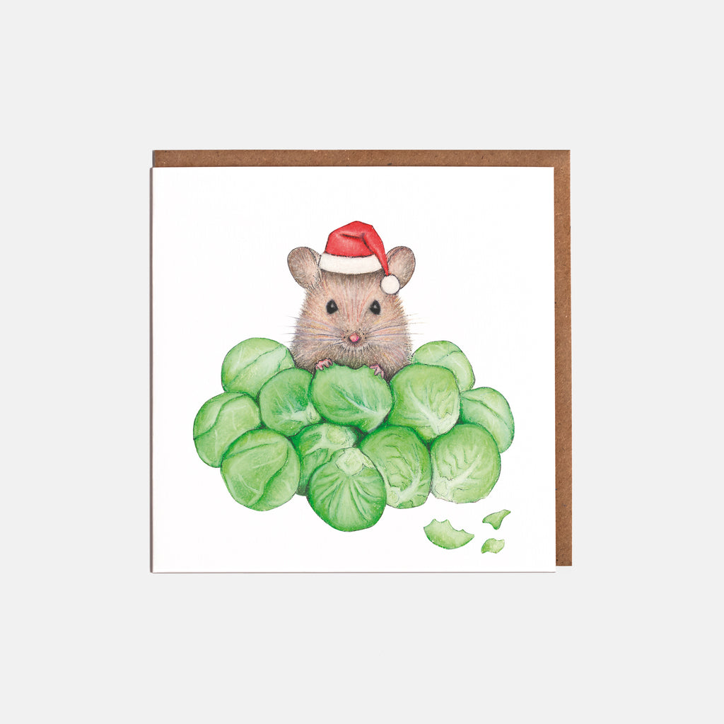 Brussel Sprouts & Mouse Christmas Cards
