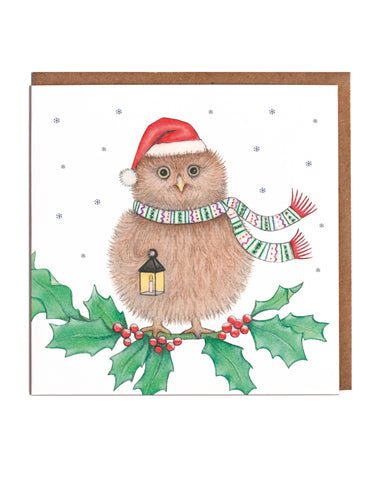 Owl & Holly Christmas Cards (8 per pack) - Pre Order (due in 1st Oct)