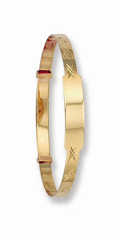 Yellow Gold D/C Expandable ID Baby Bangle TGC-BN0003