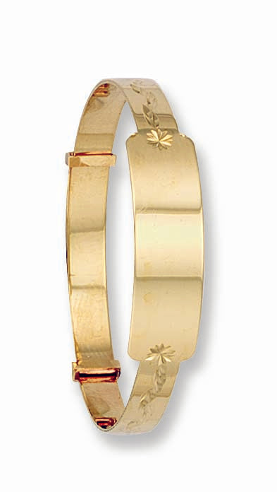 Yellow Gold D/C Expandable ID Baby Bangle TGC-BN0007