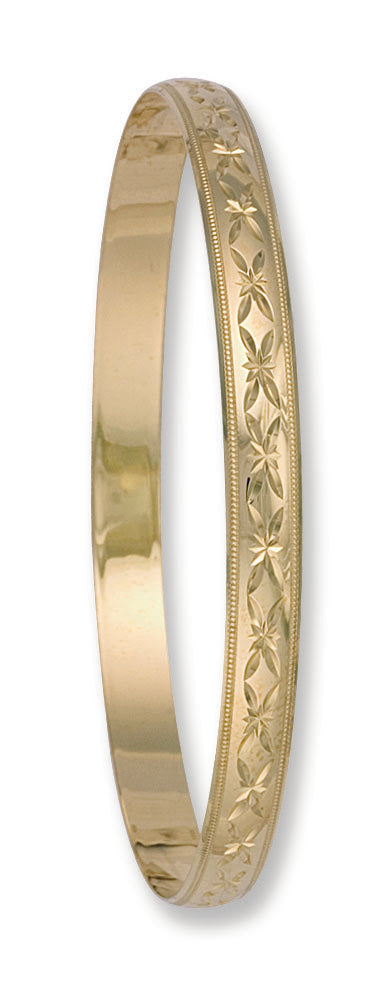 Yellow Gold 6mm D/C D - Shaped Slave Bangle TGC-BN0044