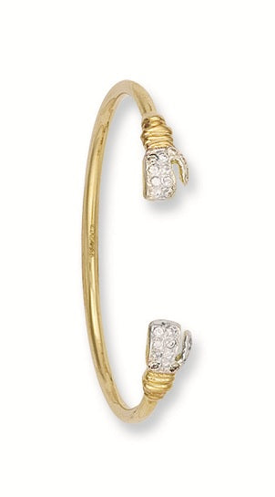 Yellow Gold Baby Cz Boxing Glove Bangle TGC-BN0137