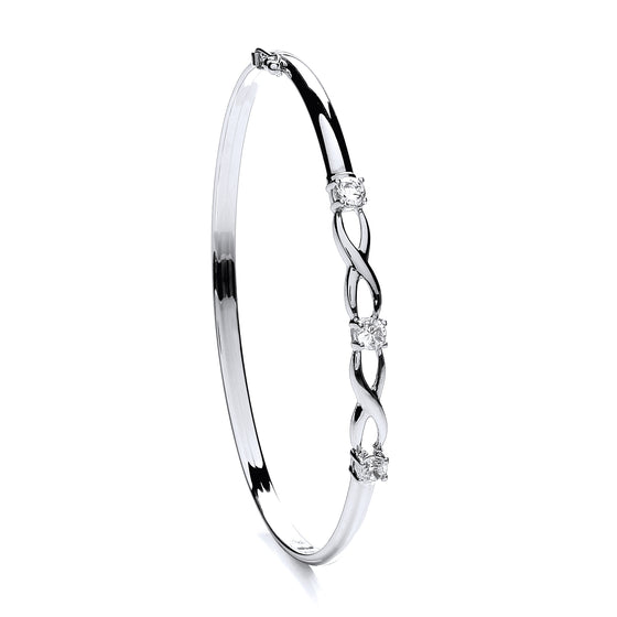 White Gold Cz Bangle TGC-BN0409