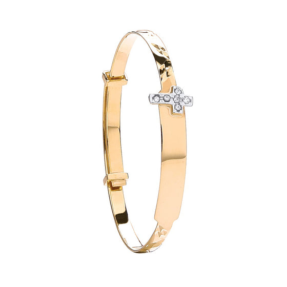 Yellow Gold D/C Expandable Bangle Cz Cross TGC-BN0411