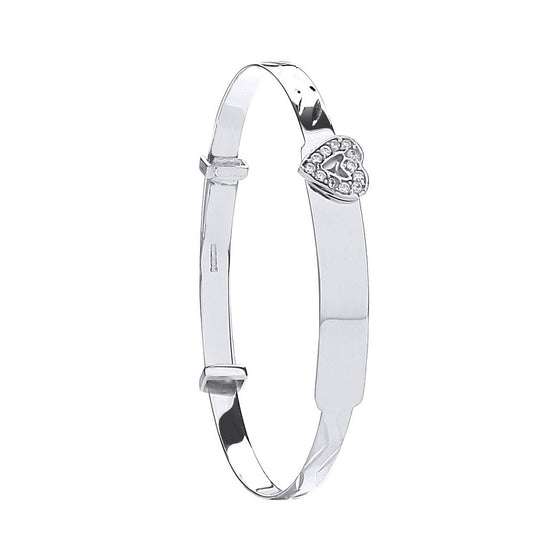 White Gold D/C Expandable Bangle Cz Heart TGC-BN0413